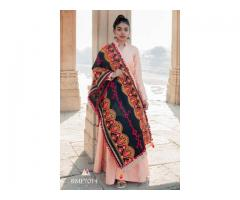 Embroidered linen festive dupatta for women at Mirraw