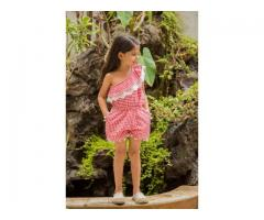 Red cotton woven kids jumpsuit at Mirraw