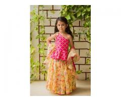 Printed organza stitched lehenga for kids at lowest cost