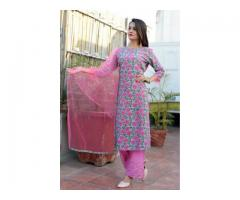 Buy Printed Pink Kurti With Plazo Online