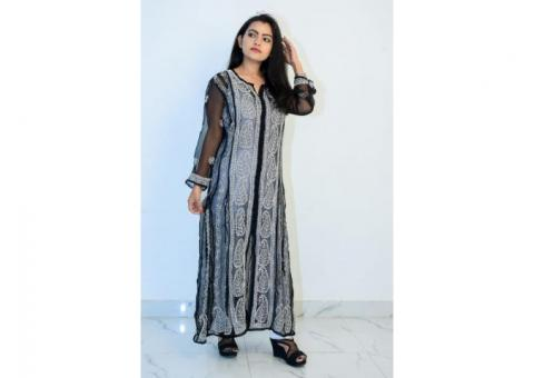 Buy Hand Embroidered Lucknowi Chikan Black Georgette Kurti