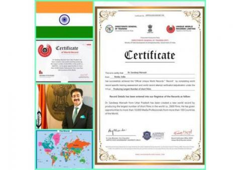 Third World Record of Sandeep Marwah Approved by Unique Book of Records