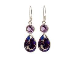 Partywear Silver Semi Precious Dangle Earrings for Women