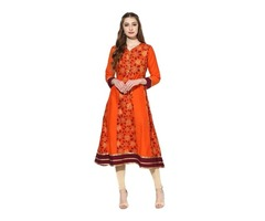 Orange Anarkali Printed Kurta at ShoppyZip