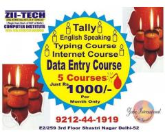 Diwali Dhamaka Offer 5 Courses Just Rs.1000 per Month at Zii-Tech Computers Delhi