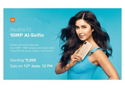 Redmi Y2 16MP AI Selfie, Sale on 12th June 2018.